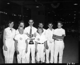 Award winners pose with Challenge trophy from 1957 P.N.E. 4-H and Future Farmers of Canada compet...