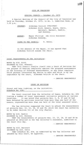 Special Council Meeting Minutes : Oct. 23, 1975