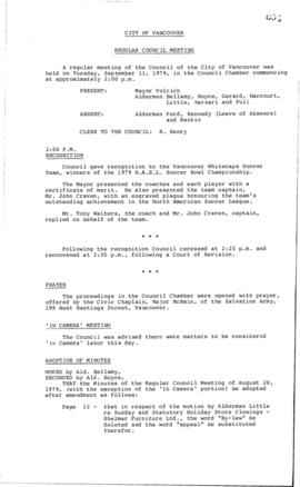 Council Meeting Minutes : Sept. 11, 1979