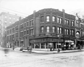 [Exterior of building on South East Corner of Granville and Dunsmuir Streets before demolition]