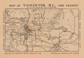 Map of Greater Vancouver and environs showing principal auto roads and highways