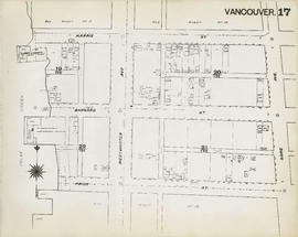 Plan of Vancouver, 1889 [fire map] : [Gore Avenue to Harris Street to False Creek to Prior Street]