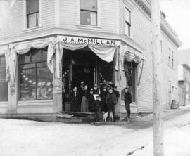 [Exterior of John Archibald MacMillan's grocery store and post office]
