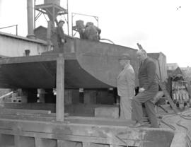 A.R.P. General Ross inspecting fire barges [under construction]