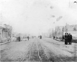 [View of Columbia Street from Begbie Street after the fire]