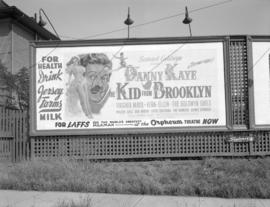 "[Billboard advertising the Danny Kaye movie, ""The Kid from Brooklyn""]"