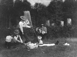[1st Vancouver Troop, Baden-Powell Boy Scouts practice first aid]