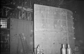 [Large metal structure being built at Vancouver Engineering Works]