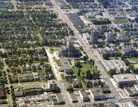 Aerial view of Vancouver City Hall and residential housing, at Cambie Street and 12th Avenue, wit...
