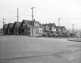 [View of houses on southeast corner of Burrard and Pacific Streets before construction of the Bur...