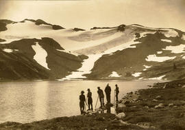 [Five men at] Sub-arctic lake, Garibaldi National Park
