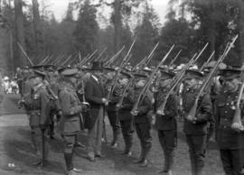 Lord Byng visit - men in uniform with rifles