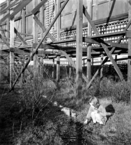 Old Beaver dam in Mount Pleasant, with girl by stream