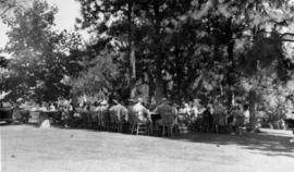 Picnic attendees seated at tables