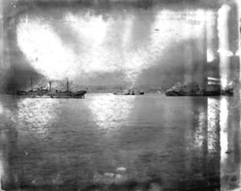 [Grain ships in Vancouver Harbour waiting to load grain]