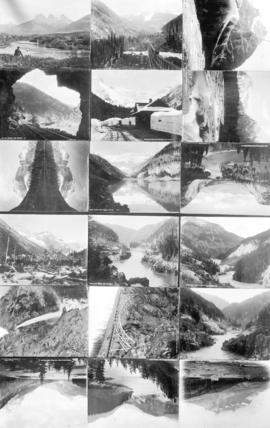 [Eighteen views along the C.P.R. route in the mountains of Alberta and British Columbia]