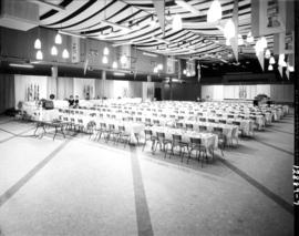 Interior of Pacific Showmart building prepared for event