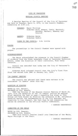 Council Meeting Minutes : Apr. 6, 1976