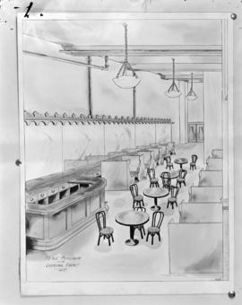 [Artist's drawing of the men's parlour at the Hotel Balmoral]