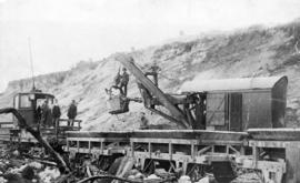 [B.C.E.R. cars being loaded at Little Mountain Quarry]