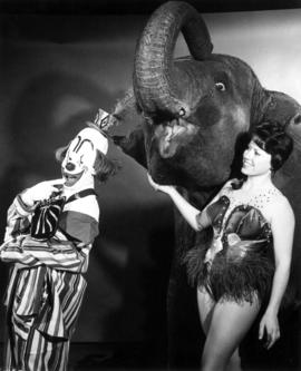 """Kae"" of the famous Polack Bros. Circus Elephants with friends, Peluza and Joanne Pinso..."