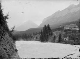 [C.P.R. Hotel at Banff, seen from across the Bow River]