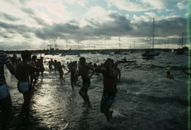 Swimmers in water during Polar Bear Swim