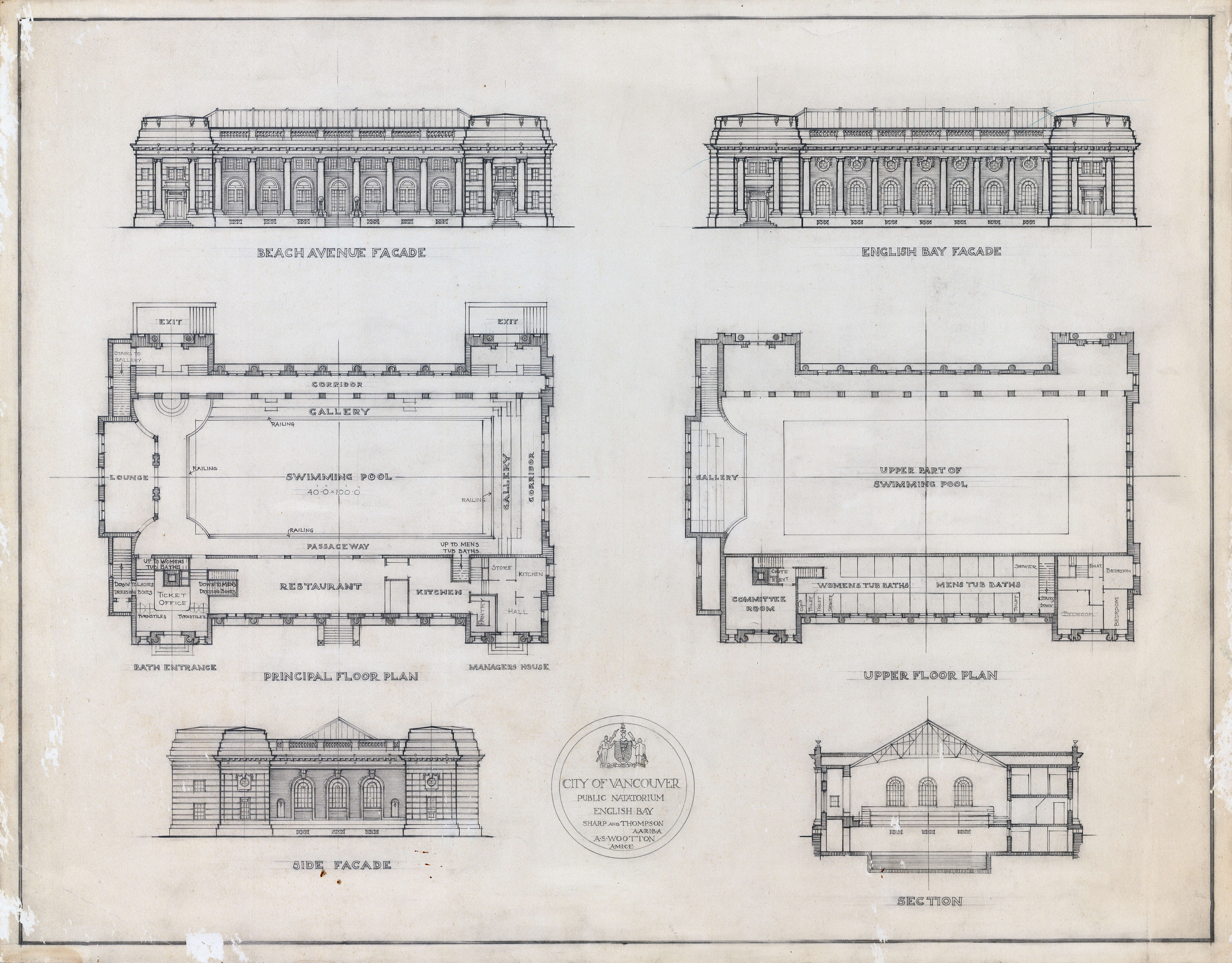 Elevations Floor Plan And Cross Section Of Swimming Baths City Of Vancouver Archives