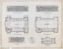 Elevations, floor plan and cross-section of swimming baths