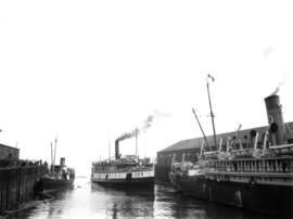 "[Union Steamship ""Cheam"" backing out from Union Dock]"