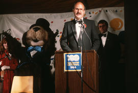 Mike Harcourt speaking at Vancouver's 99th birthday celebration at the Vancouver Museum