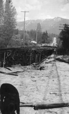 Demolition of trestle bridge spanning Hastings Creek on Lynn Valley Road