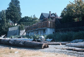 [View from beach of retaining walls for Kitsilano Beach waterfront properties