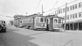 [B.C.E.R. street cars #157 and #162 at foot of Lonsdale Ave.]