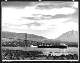 First Narrows [freighter passing under Lions Gate Bridge]
