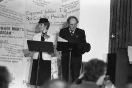 May Brown and Harry Rankin deliver a theatrical presentation