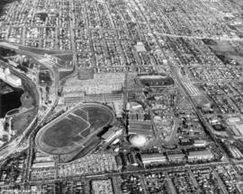 [Aerial view of] Pacific National Exhitibiton [at Hastings Park]
