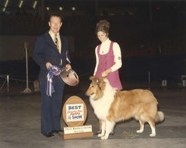 Best Canadian Bred Puppy in Show award being presented at 1975 P.N.E. All-Breed Dog Show [Collie]