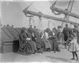 "[Passengers on the ""James Crombie"" on Moray Firth]"