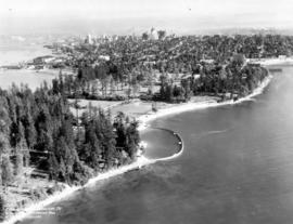 [Aerial view of] Stanley Park Vancouver BC [with] Second Beach Swimming Pool in the foreground.