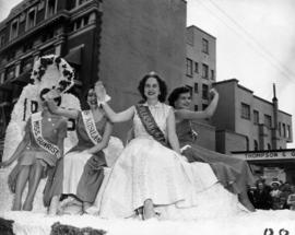 Miss Vancouver contestants of float in 1953 P.N.E. Opening Day Parade