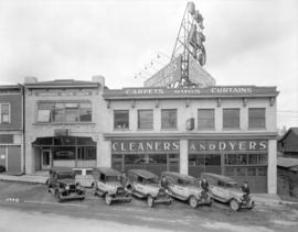 Granville Brothers [Cleaners and Dyers] exterior with vans [at 1835 Granville Street]
