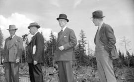 [Premier John Hart and party on Hollyburn mountain to review a timber conservation plan]