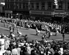 Military band in 1947 P.N.E. Opening Day Parade