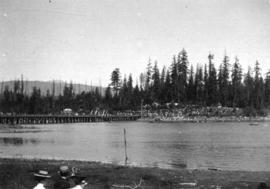 [The Coal Harbour bridge and Stanley Park from the foot of Denman Street]