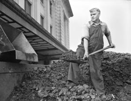 C.N.R. [Canadian National Railway employee shovelling] coal