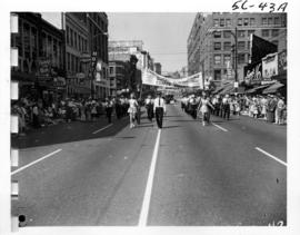 Comox District Band in 1956 P.N.E. Opening Day Parade