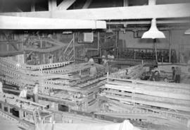 [Interior view of the Boeing plant on Sea Island]