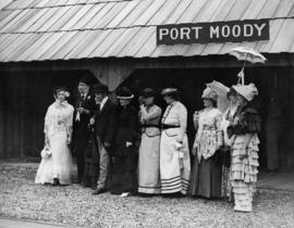 Replica Port Moody Station, 1886, ladies in dress of the period