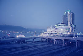 Pan Pacific Hotel and Canada Place at dusk